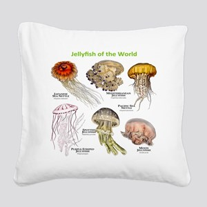 Jellyfish of the World Square Canvas Pillow