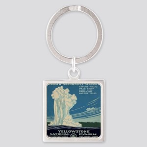 yellowstone-national-park_poster_r Square Keychain