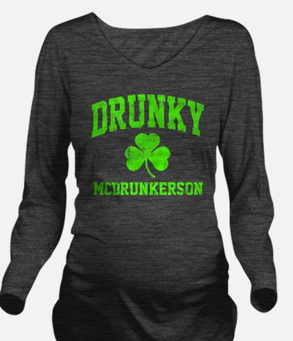 Green Drunky Long Sleeve Maternity T-Shirt