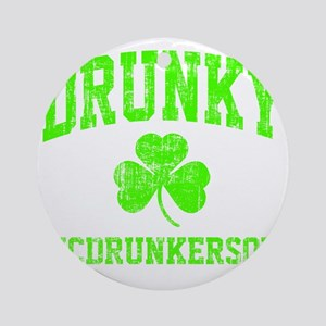 Green Drunky Round Ornament
