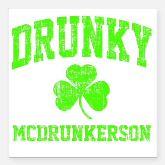 """Green Drunky Square Car Magnet 3"""" x 3"""""""