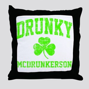 Green Drunky Throw Pillow