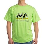 Burning Stare Penguins Green T-Shirt