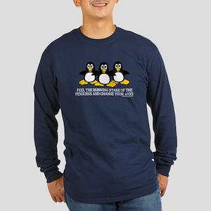 Burning Stare Penguins Long Sleeve Dark T-Shirt