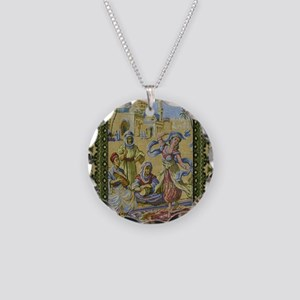 Dance Tapestry Necklace Circle Charm