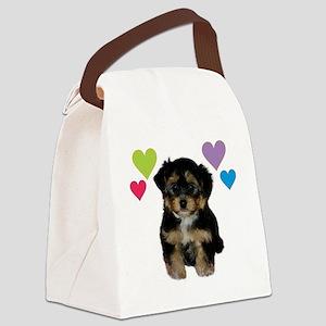 yorkiepoo_colorhearts Canvas Lunch Bag
