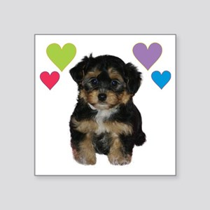 "yorkiepoo_colorhearts Square Sticker 3"" x 3"""