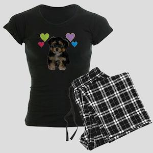 yorkiepoo_colorhearts Women's Dark Pajamas