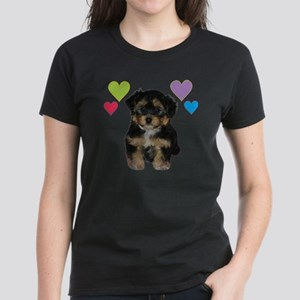 yorkiepoo_colorhearts Women's Dark T-Shirt
