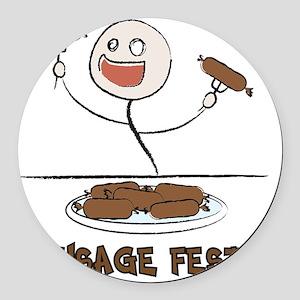 Sausage_Fest Round Car Magnet