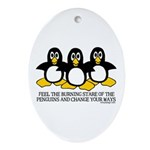 Burning Stare Penguins Oval Ornament