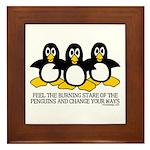 Burning Stare Penguins Framed Tile