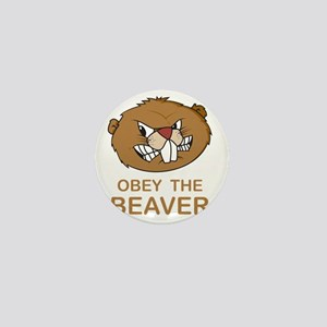 ObeyTheBeaver1Bk Mini Button