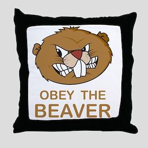 ObeyTheBeaver1Bk Throw Pillow