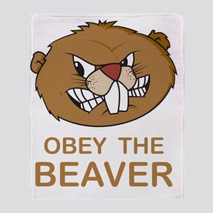 ObeyTheBeaver1Bk Throw Blanket