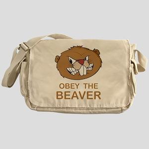 ObeyTheBeaver1Bk Messenger Bag