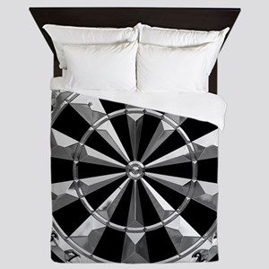 Dart Art Liquid Metal Hub Blk Queen Duvet