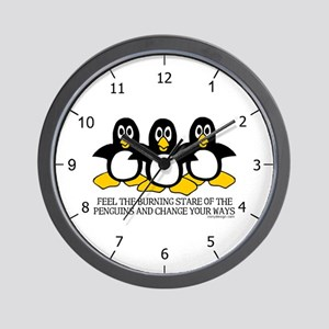 Burning Stare Penguins Wall Clock