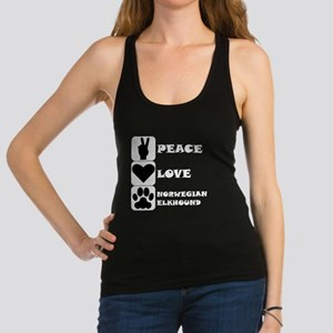 Peace Love Norwegian Elkhound Racerback Tank Top