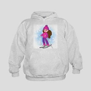 Ski Girl (brunette) Kids Hoodie