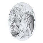 Adam And Eve Christian Art Oval Ornament