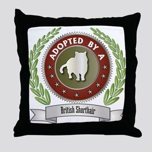 Adopted By Shorthair Throw Pillow
