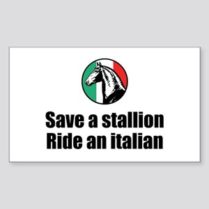 Save a Stallion Ride an Itali Sticker (Rectangular