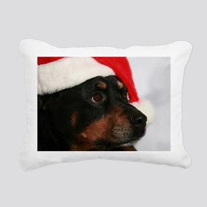 Rottweiler Santa Rectangular Canvas Pillow