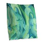Reflections in Blue III Cyan Burlap Throw Pillow