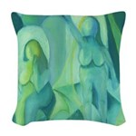 Reflections in Blue III Cyan Woven Throw Pillow