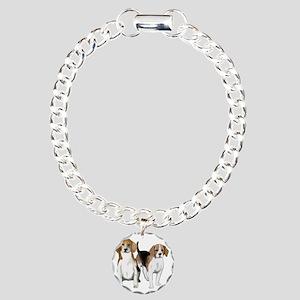 two beagles Charm Bracelet, One Charm
