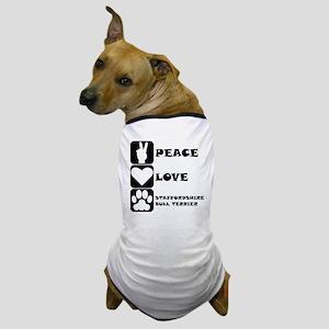 Peace Love Staffordshire Bull Terrier Dog T-Shirt