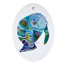Manatees Endangered Species Ornament (Oval)
