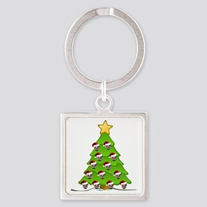 Monster Christmas Tree Square Keychain