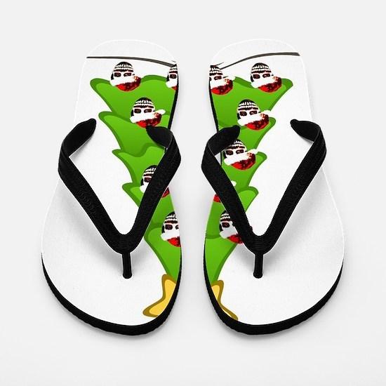 Monster Christmas Tree Flip Flops