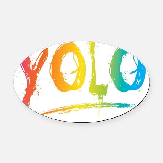 YOLO Bright Oval Car Magnet