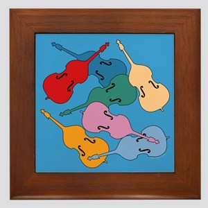 Colorful Double Basses - Framed Tile