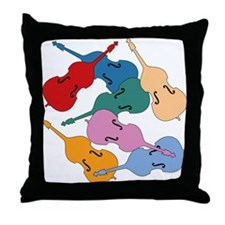 Colorful Double Basses - Throw Pillow
