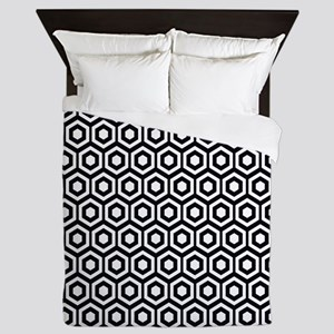 Black And White Honeycomb Queen Duvet