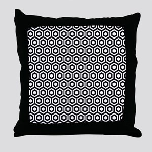 Black And White Honeycomb Throw Pillow