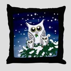Christmas Snowy Owl family Throw Pillow