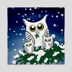 Christmas Snowy Owl family Queen Duvet