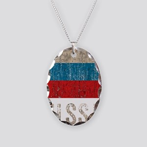 russia14Bk Necklace Oval Charm