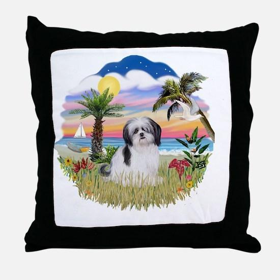Palms-ShihTzu1 Throw Pillow
