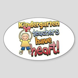 Kindergarten Teacher Heart Oval Sticker