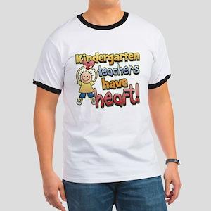 Kindergarten Teacher Heart Ringer T