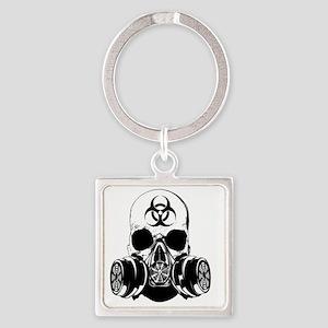 Biohazard Zombie Skull Square Keychain