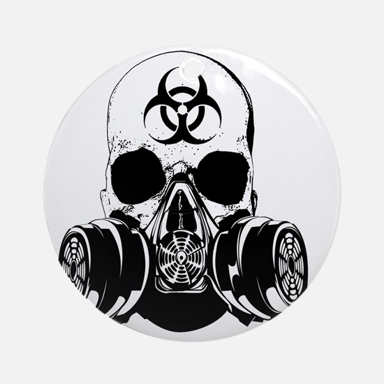 Biohazard Zombie Skull Round Ornament