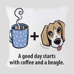 beagle_coffeeforlight Woven Throw Pillow