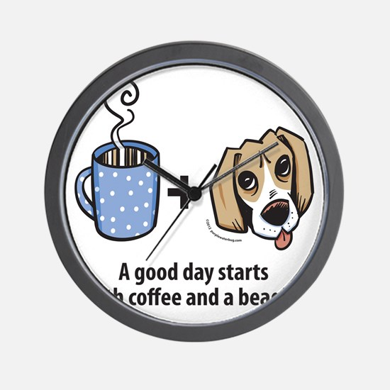 beagle_coffeeforlight Wall Clock